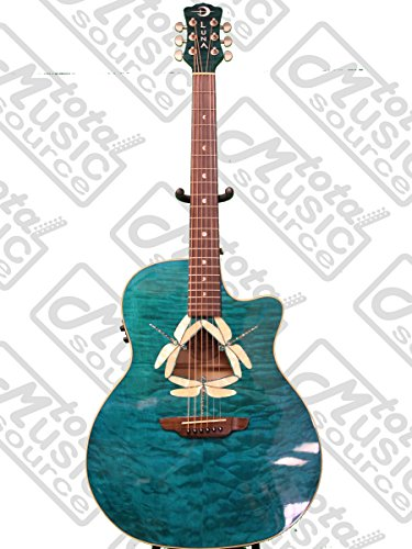 Luna Fauna Series Dragonfly Quilted Maple Cutaway Acoustic-Electric Guitar - Transparent (Dragonfly Acoustic Bass)