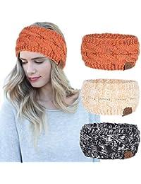 Women Headbands 3Pcs Knit Headband Twist Headband Crochet Winter Cable Ear  Warmer Khaki Blue Black Headbands b05b968a418