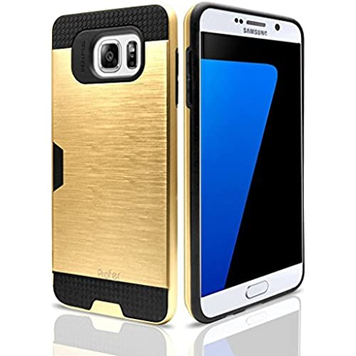 Profer Heavy Duty Drop Protection Dual Layer Armor Holster Defender Full Body Protective Hybrid Wallet Case Card Slots [Slim Fit] Cover for Samsung Galaxy S7 - Gold Sales