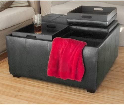 Best Choice Products PU Leather Ottoman with 4 Tray Tops Storage Bench Coffee Table Leather New