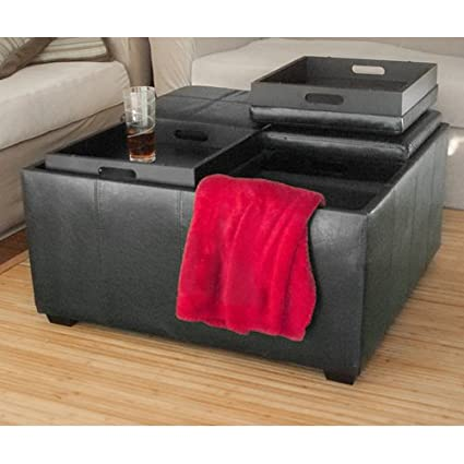 PU Leather Ottoman With 4 Tray Tops Storage Bench Coffee Table Leather New