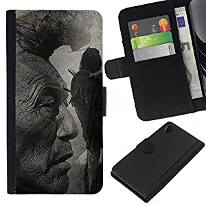 Leather Etui en cuir    Sony Xperia Z2 D6502    Native American Indian Man Arte Naturaleza Cabello @XPTECH