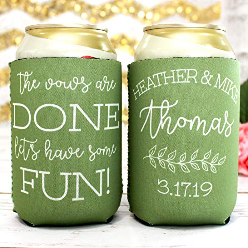 Personalized Wedding Can Coolers Vows Are Done Fun Multiple Colors/Quantities Available Personalized Wedding Favors Neoprene Can -