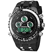 INFANTRY Big Face Dual Display Sports Watch for Men Military Analog-Digital Balck Rubber