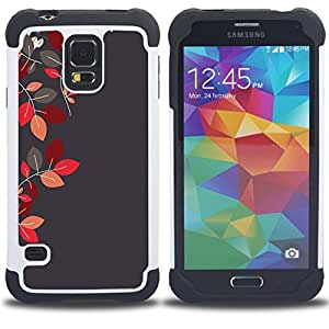 - red maroon grey gray autumn/ H??brido 3in1 Deluxe Impreso duro Soft Alto Impacto caja de la armadura Defender - SHIMIN CAO - For Samsung Galaxy S5 I9600 G9009 G9008V