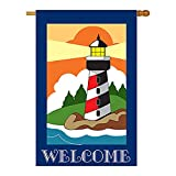 Two Group - Welcome Lighthouse Coastal - Everyday Nautical Applique Decorative Vertical House Flag 28
