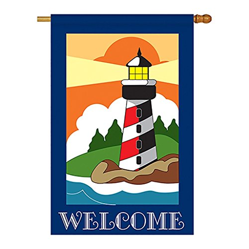 Two Group – Welcome Lighthouse Coastal – Everyday Nautical Applique Decorative Vertical House Flag 28″ x 44″