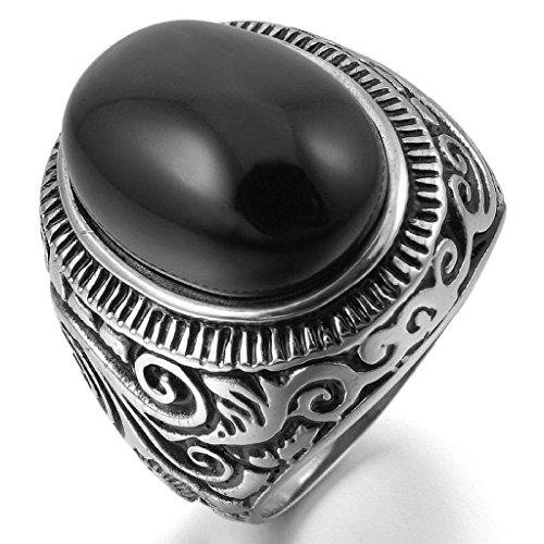 Aooaz Stainless Steel Ring For Men Agate Wedding Ring Silver Black Biker Vintage Free Engraving Size 9