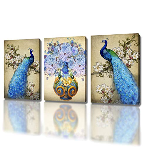 (DXYJUYI Canvas Prints Wall Art Peacock Feathers Painting Bird Plume Modern Art Living Room Decoration Ready to Hang Set of 3 (16X24inchX3p, 3))