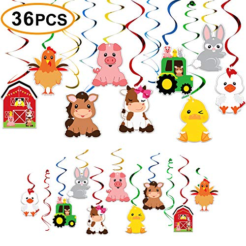 Farm Birthday Party Supplies,Hanging Swirls Barnyard Party Decorations for Barnyard Birthday Party Supplies Farm Animal Party Supplies -