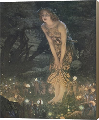 Midsummer Eve, c.1908 by Edward Robert Hughes Canvas Art Wall Picture, Museum Wrapped with Light Brown Sides, 8 x 10 inches Hughes Framed