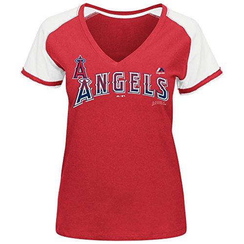 MLB Women's Winners Circle Short Sleeve V-Neck T-Shirt (Medium, Los Angeles Angels)
