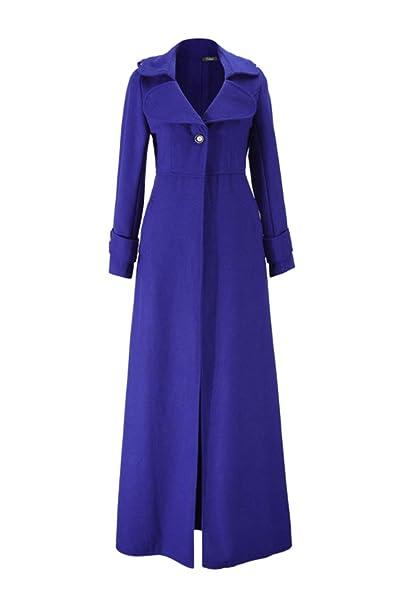 Abrigo De Guisante para Mujer Casual Delgado Maxi Largo Sólido Trenchcoat Outwear Top: Amazon.es: Ropa y accesorios