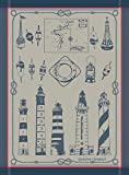Garnier Thiebaut, Phares et Balises (Lighthouses and Buoys), Bretagne French Jacquard Kitchen Towel, 100 Percent Cotton, 22 Inches x 30 Inches