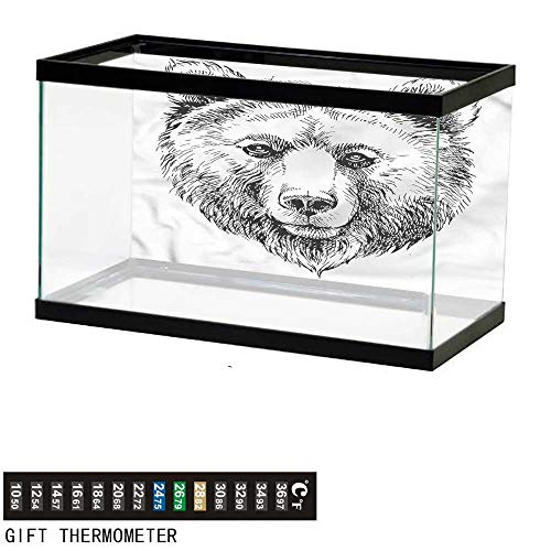 (bybyhome Fish Tank Backdrop Animal,Grizzly Bear Ink Sketch,Aquarium Background,48