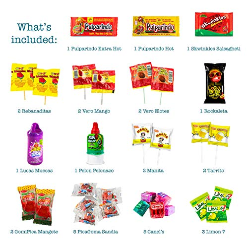 Mexican Candy Assortment Snacks (32 Count), Variety Of Spicy, Sweet, Sour Bulk Candies Dulces Mexicanos, Includes Lucas, Pelon, Vero Lollipops, Pulparindo Makes A Great Gift By MTC. by MTC (Image #1)