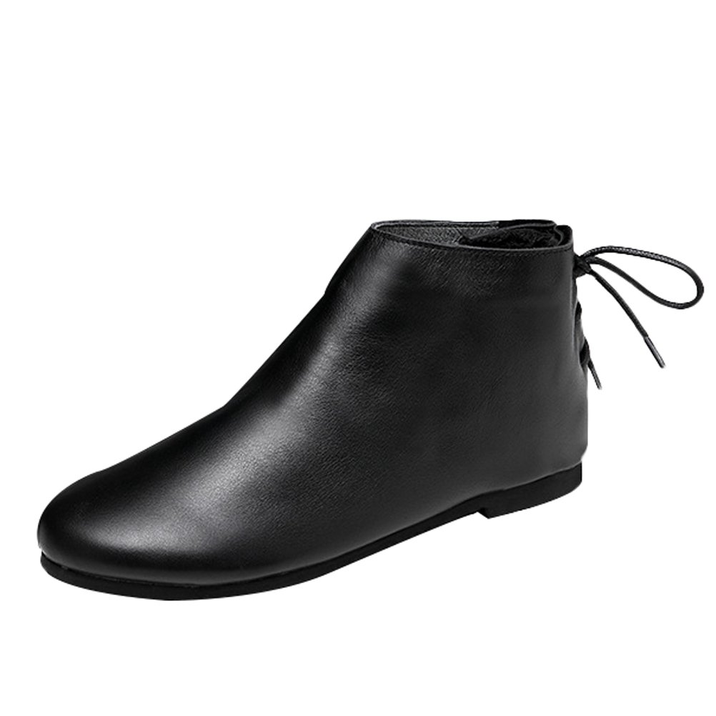 Mordenmiss Women's Leather Short Boots New Shoes Style 3 Black Fleece