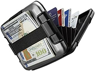 Wallet SHARKK RFID Protected Aluminum Wallet with Cash Band Rugged Water Resistant Wallet Card Holder (Gray)