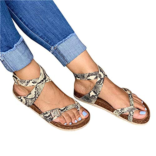 JOYCHEER Womens Gladiator Flat Sandals Ankle Strap Double Buckle Thong Summer Mayari Sandal ()