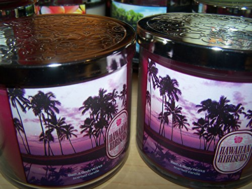 Lot of 2 Bath & Body Works Hawaiian Hibiscus 3 Wick Scented Candle with Lid 14.5 Oz Each (Scented) (Hawaiian Hibiscus Candle Bath And Body Works)
