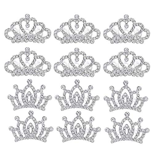 Small Princess Crowns Tiaras Party Favors for Women Girls Toddler Bulk Combs Clips Hair Accessories Pack of 12 -
