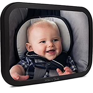 Back Seat Baby Car Mirror, Latest 2017 Release | Stable 360 Degree View Adjustment | For Infants In Rear Facing Car Seats | LARGE | FREE BONUS | No Center Headrest Required