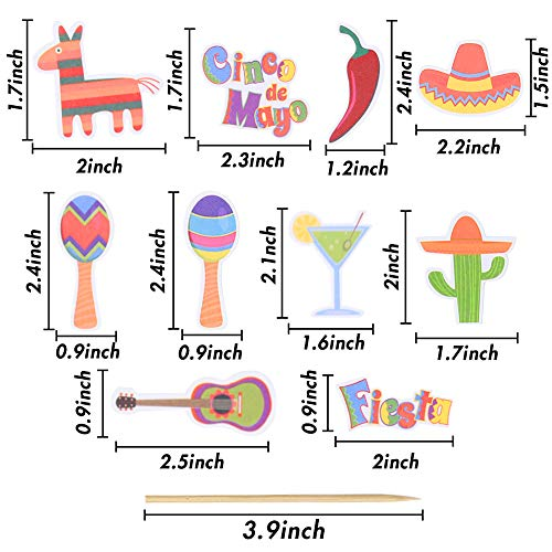 BigOtters 50PCS Mexican Fiesta Cupcake Toppers, 10 Styles Mexican Cake Toppers for Mexican Themed Cactus Donkey Taco Pepper Sombrero Mustache Party Decor Home Birthday Party Favor