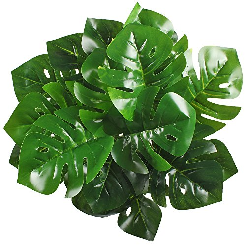 Artificial Shrubs, Hogado 2pcs Tropical Imitation Plants Faux Silk UV Protected Monstera Leaves Bushes Simulation Greenery Bushes Indoor Outside Home Garden Office Verandah Wedding Decor - Big Leaf Trees