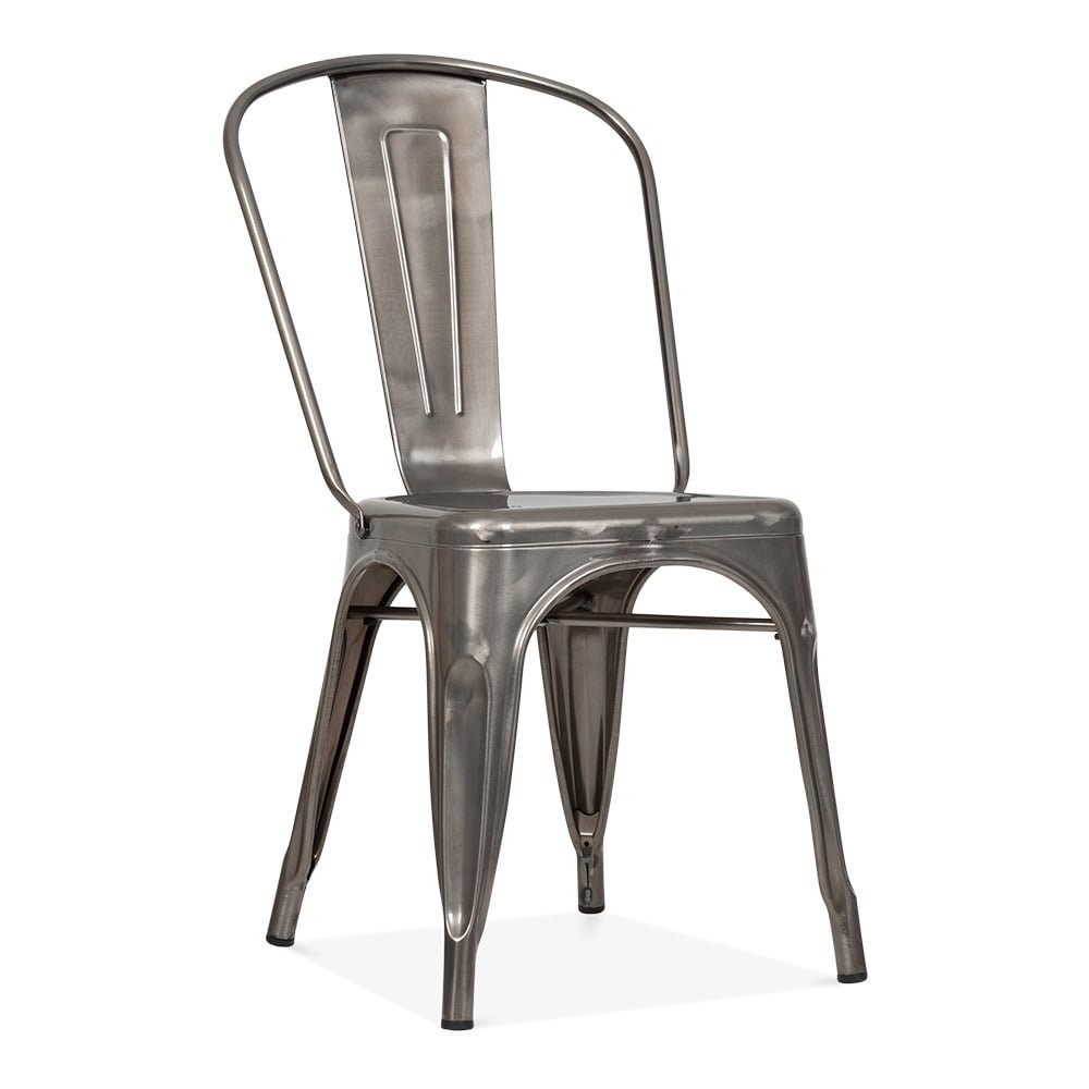 BE Furniture Silver Metal Tolix Chairs, Restaurant Chairs