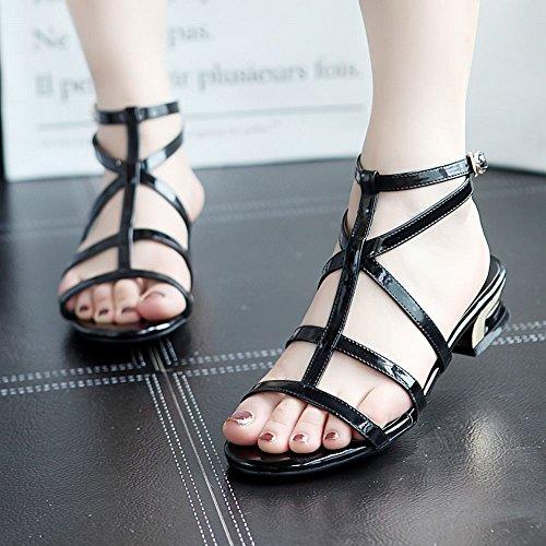Mee Shoes Damen Niedrig T-Strap Slingback Sandalen Schwarz