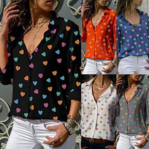 longues manches amples Top boutons à pour femmes orange Blouse manches décontractés V en et à Jutoo longues à femmes col chemises WCwpRvp4q
