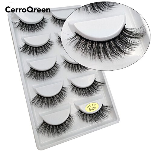 CerroQreen Eyelashes 5 Pairs Pack 3D Fake Eyelashes Mink Fur Hand-Made Dramatic Thick Crisscross Deluxe False Lashes Black Nature Fluffy Long Soft Reusable