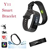 Smart Watch - Longay Y11 OLED Smart Bracelet Heart Rate Pedometer Sedentary Fitness Tracker Call SMS (Black)