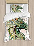 Ambesonne Celtic Duvet Cover Set Twin Size, Head of Legend Dragon with Ethnic African Ornate Effects on Grunge Backdrop Mythical, Decorative 2 Piece Bedding Set with 1 Pillow Sham, Multicolor