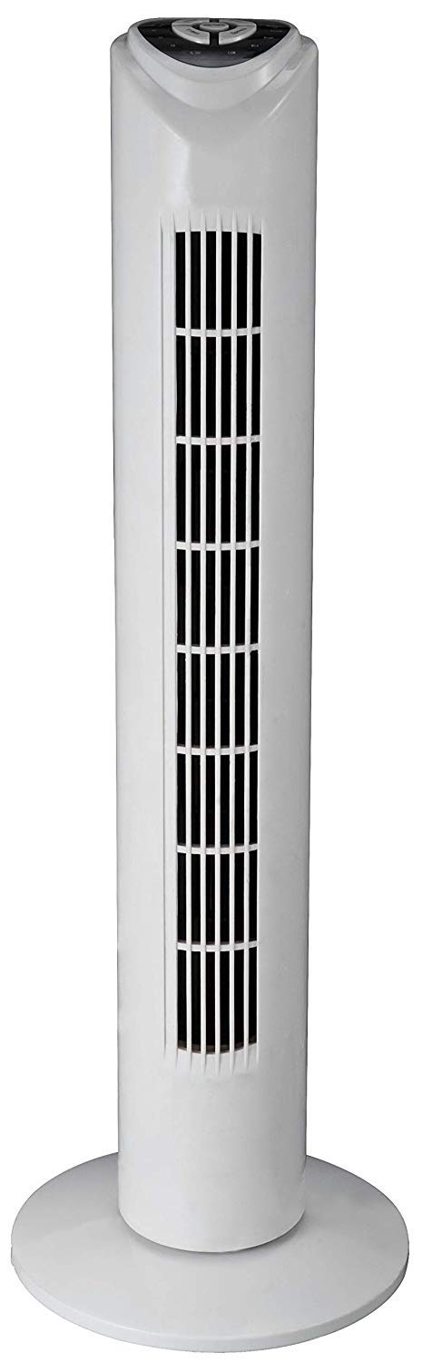 DealBerry Tower Fan, 3 Speed, Oscillating, Quiet Operation, Ideal for Home and Office, White (Fan with Remote)