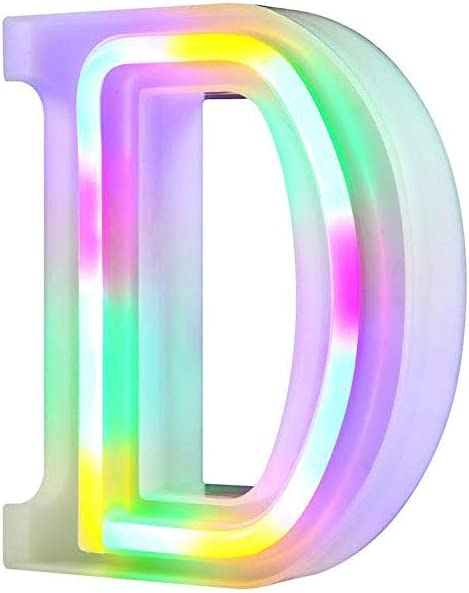 QiaoFei Light Up Marquee Letters Lights Letters Neon Signs,Wall Decor/Table Decor for Home Bar Christmas, Birthday Party, Valentinefs Day Words-Colorful Letters (D)