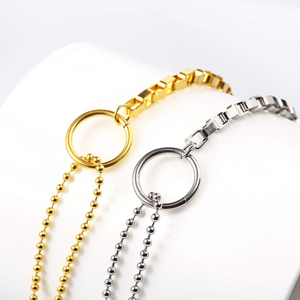 HIXIN Fashion 316L Stainless Steel Bracelet for Womens or Girls 18K Gold Vacuum Plated Adjustable Bracelets Link for Women Circular Circle Beads Jewelry