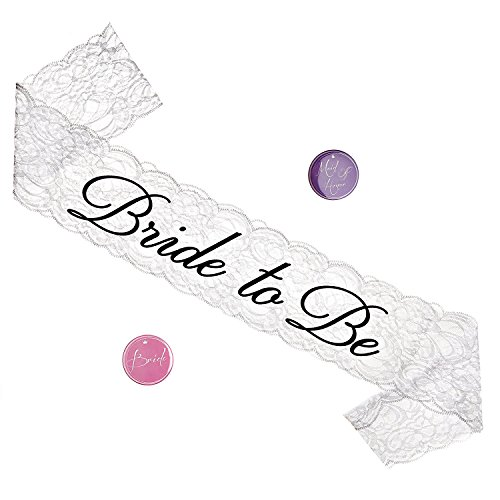 Bride Sash -bachelorette sash- Quality Lace Bride to be Sash for Bachelorette Party - Stylish & Sophisticated Rhinestone - Perfect Length for Comfortability -Wear Over any Dress -Universal Fit (White)