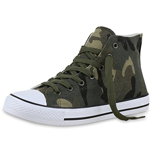 best-boots Damen High-Top Sneaker Schnürer Slipper Halbschuhe Sportlich Camouflage Nuovo