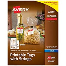 """Avery Square Printable Tags for Inkjet Printers Only, Tags With Strings, 1.5"""" x 1.5"""", 200 Tags (22849)"""