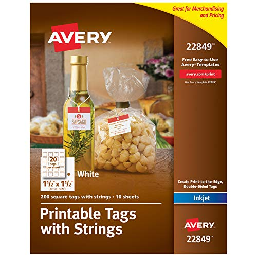 "Avery Square Printable Tags for Inkjet Printers Only, Tags With Strings, 1.5"" x 1.5"", 200 Tags (22849)"