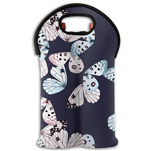 2-Bottle Wine Tote Carrier Bag Butterfly Wings Thermal Neoprene Wine Bottle Holder Cooler Carrier for Travel, Picnic, Keeps Bottles Protected ()