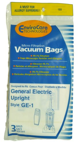 - GE Upright Vacuum Cleaner Bags, Style GE1, EnviroCare Replacement Brand, designed to fit GE Upright Vacuum Cleaners, 3 bags in pack