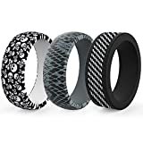 Zollen Silicone Wedding Ring for Men, 3 Packs Men's Rubber Wedding Bands Durable Skin Safe Antibacterial Rubber Rings for Crossfit Workout
