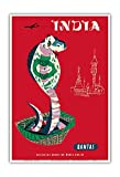 India - Qantas Airways - Indian Cobra (Naja Naja) - Vintage Airline Travel Poster by Harry Rogers c.1960s - Master Art Print - 13in x 19in