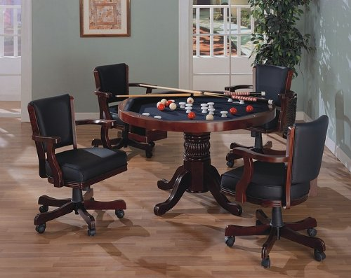 Three-in-One Cherry Finished Wood Pool Poker Game Dining Table Chairs set