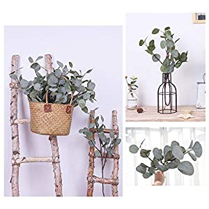 YUYAO Artificial Plants Silver Dollar Eucalyptus Leaves 6Pcs Leaf Silk Artificial Greenery Stems Fake Plants Leaves for Home Wedding Party Decoration 8