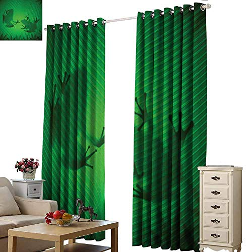 Frog Sport Tree Alpaca - Homrkey Windshield Curtain Animal Frog Shadow Silhouette on The Banana Tree Leaf in Tropical Lands Jungle Games Graphic Thermal Insulated Tie Up Curtain W84 xL72 Green
