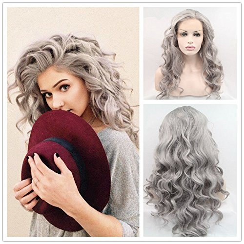 Heat Resistant Fiber Hair granny gray Body Wave Hair Wigs Synthetic Lace Front Wig For Women Drag Queen Hair Wig