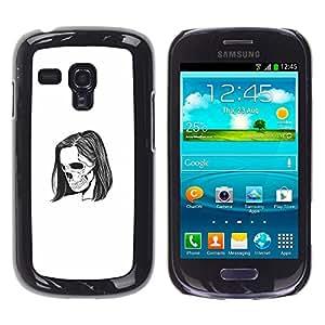 Caucho caso de Shell duro de la cubierta de accesorios de protección BY RAYDREAMMM - Samsung Galaxy S3 MINI 8190 - Emo Esqueleto